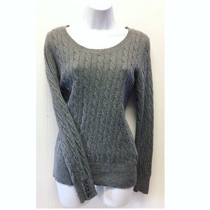 Ralph Lauren | Gray Fitted Sweater w Button Cuffs